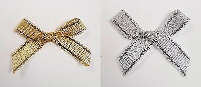 3cm Pre Tied Gold Silver Lurex Bows 100 Pack Cards Favours Crafts Embellishment