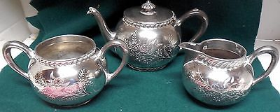 Antique Hotel Silver Coffee Service Middletown Plate Co. Etched Bird Design 3 Pc