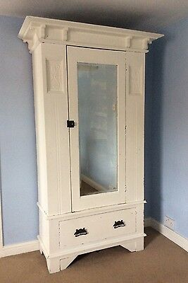Beautiful Antique Art Nouveau Painted Walnut Wardrobe With Mirror And Drawer