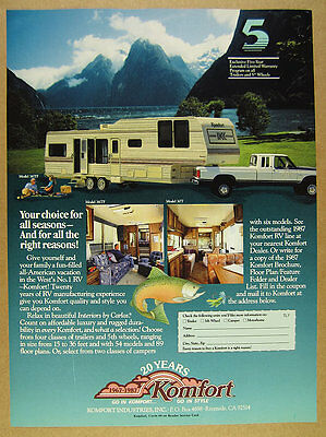 1987 Komfort Model 36TF 5th Fifth-Wheel trailer photos vintage print Ad