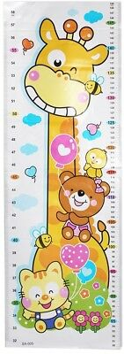 Childrens height record chart sticker giraffe teddy kitten repositionable reuse