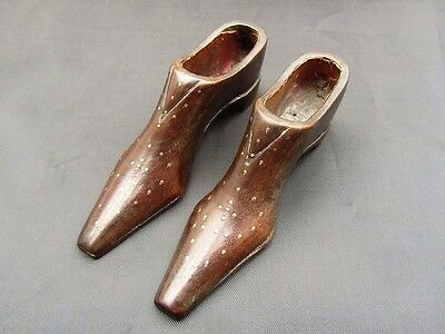 Victorian, Treen Pair of Novelty Pique Point Shoes/Snuff Boxes or Pin Cushions