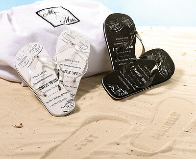 "Wedding Bride & Groom True Love Flip Flops With ""just Married"" Inprint"