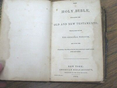 1864 Holy Bible Old & New Testament American Bible Society Agate 18 mo. 55th Ed.