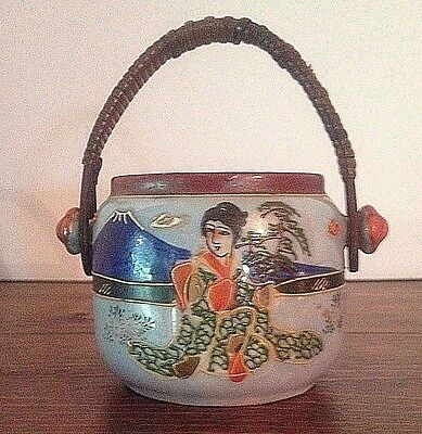 Antique Lusterware Moriage Japanese Pot marked FOREIGN