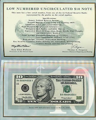 Low Numbered Uncirculated Series 1999 $10 U.S. Federal Reserve Note JE422