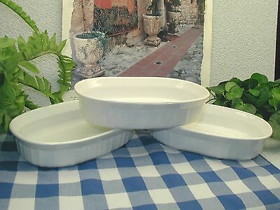 3 Vtg Corning Ware FRENCH WHITE Individual OVAL Oven Casserole Dish Bowls F-15-B