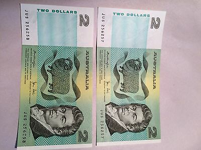 Two Consecutive Number Australian $2 Notes JUS 256257/8 UNC