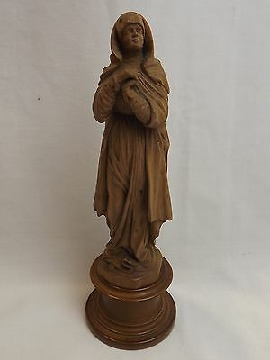 Vintage Carved Fruitwood Statue Of A Lady In The Black Forest Style