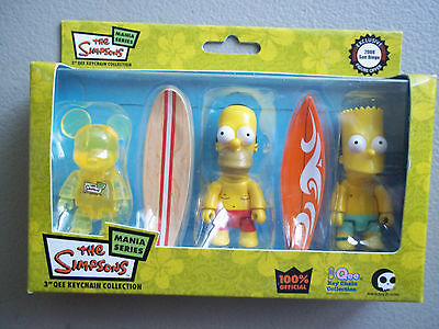 """The Simpsons 3"""" Keychain Set by Qee / Set of 3 Surfing / New"""