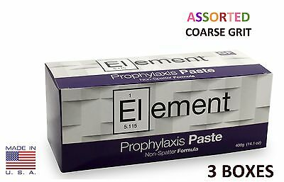 Element Prophy Paste Cups ASSORTED COARSE 200/Box  Dental Non-Splatter - 3 BOXES