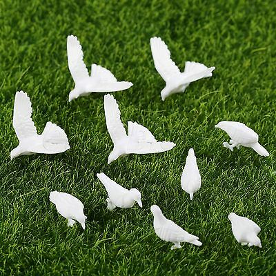 10Pcs Handmade DIY Model Doves/Pigeon White Plastic Animals Model H-15mm