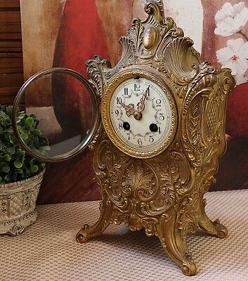 French Rococo Antique Bronze Winding Shelf / Mantle Clock