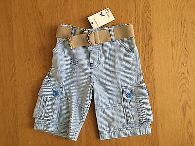 BRAND NEW boys Blue & White Striped Shorts From John Lewis. 12-18 Months
