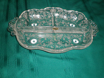 CAMBRIDGE elegant Depression Glass ROSE POINT 3 Part RELISH DISH with STICKER