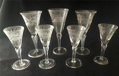 English or European Hollow Engraved Pedestal Stems Wine Glasses c1740 Set of 7