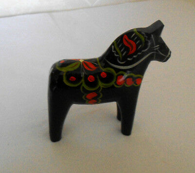 """5"""" Perfect Size New Black Swedish Dala Horse Hand Carved/Painted w/Free Bookmark"""
