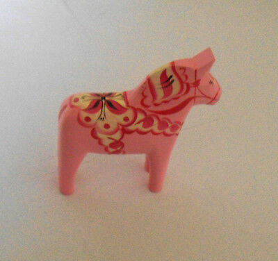 """Pink New Perfect Size 5"""" Swedish Dala Horse Hand Carved/Painted w/Free Bookmark"""