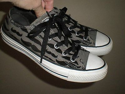 Converse All Star Gray Canvas Mustache Sneakers Ladies 4 Men's 6