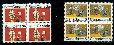 Canada #522i, 525i centre blocks. 4 mint never hinged. Dot between M & A on 5 ct