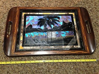 """Rio De Janeiro Butterfly Wing Landscape Scene Marquetry Inlaid Wood Tray 20 1/2"""""""