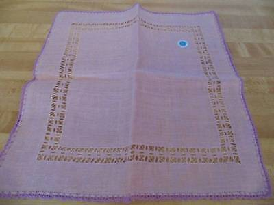NWT all linen ladies hankie, made in Ireland, Lilac, crocheted