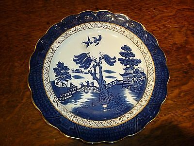 """2 x Booths Real Old Willow Dinner Plates  A8025   10.5"""" / 27cm ~~ Gold Edge ~~"""