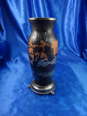 """Cameo Art Glass Vase with Sterling Silver Base Signed MOHVLF 8 1/2"""""""