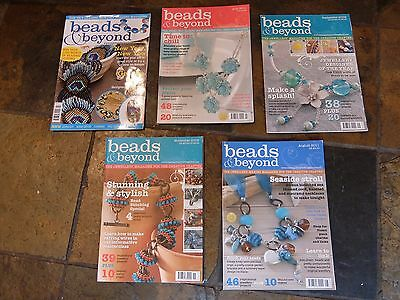 5 x back issues of 'Beads & beyond' magazine  2008, 2009 & 2011