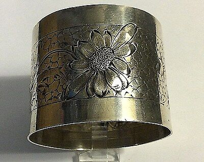 Antique French M.M. Sterling Silver Flower Marygold Napkin Ring