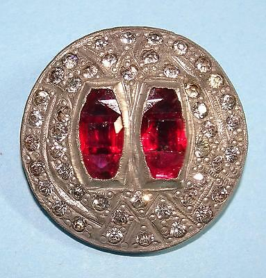 Antique/Vintage Button Rhinestone and Red Glass on White Metal Medium 1.22""