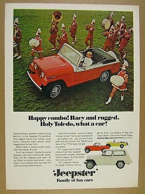 1967 Jeep Jeepster red Convertible pickup roadster photo vintage print Ad