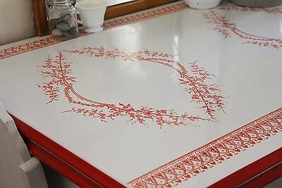 Vintage 1940s Rare Mochi Red And White Enamel Top Table