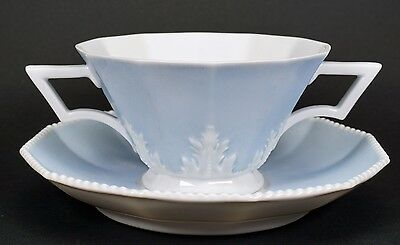 Nymphenburg Porcelain Pearl Perl Blue Symphony Cream Soup Bowl and Under Plate