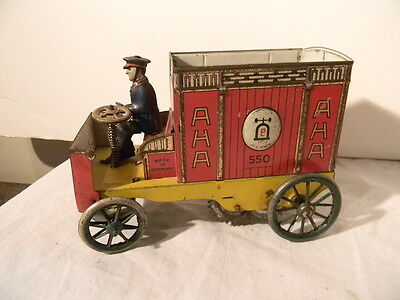 1907 Lehmann Drgm Aha Delivery Van Tin Wind Up Germany Excellent To Near Mint
