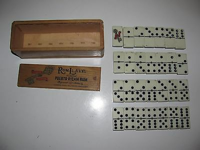 Vintage Advertising Dominos Two Tone B&W RON LLAVE PUERTO RICAN RUM in Wood Box