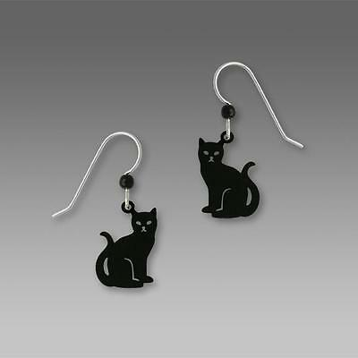 Sienna Sky Earrings 925 Sterling Silver Hook Handpainted Niki the Black Cat 1588