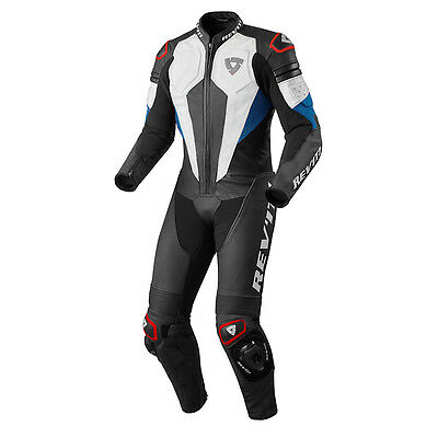 Rev'it! Akira 1 One Piece Leather Motorcycle Race Suit White Blue Rev it Revit