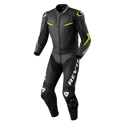 Rev'it! Masaru Combi Motorcycle 2 Piece Suit Black Acid Green Rev it Revit