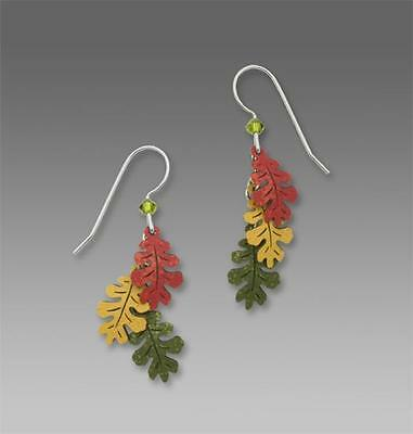 Sienna Sky Earrings Sterling Silver Hook Three-Part Oak Leaves in Autumn Colors