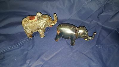 Lot Of Two Vintage Wind Up Elephant Toys Made In Japan With One Key