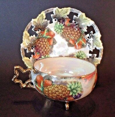 Footed Royal Sealy Tea Cup And Pierced Saucer - Pineapple Strawberries Japan