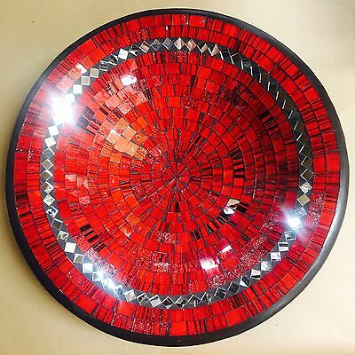 Bowl Plate quality Round Large Mosaic Handmade Red