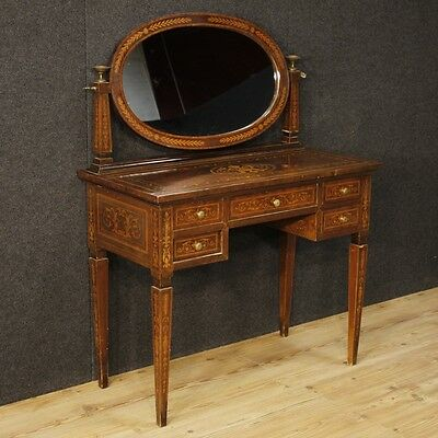 Dressing table inlaid furniture desk secrétaire antique style Louis XVI vintage