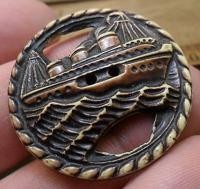 """WOW 1 1/2"""" Large Ship on Ocean Celluloid Antique Button 334:20"""