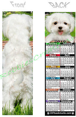 MALTESE 2018 CALENDAR BOOKMARK White Dog PUPPY Makes Perfect Gift Card Figurine