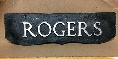 Vintage Mailbox Sign Rogers Surname Name Cast Aluminum Metal Double Sided