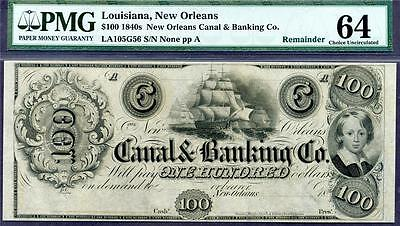HGR 1840's $100 ((New Orleans)) PMG CHOICE UNC 64