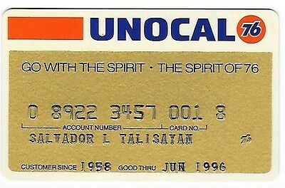 """Unocal 76  """"go With The Spirit - The Spirit Of 76""""  Credit Card"""