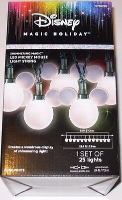 Disney Magic Holiday Mickey Mouse LED Light String Pure White 24ft Length NEW